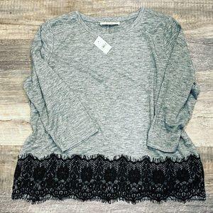 Ann Taylor LOFT Grey Top with Black Lace